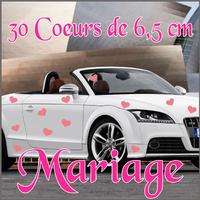 Stickers déco mariage 30 coeurs de 6,5 cm
