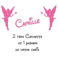 stickers 2 fées clochette Prénom offert