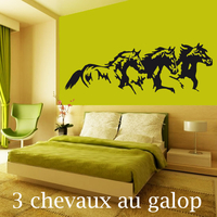 Sticker 3 chevaux au galop