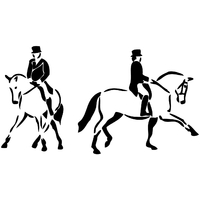 stickers 2 cavaliers au dressage de chevaux