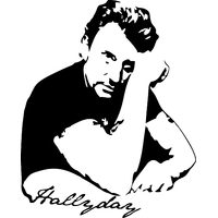 Stickers Johnny Hallyday avec signature