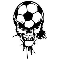 Sticker tête de mort ballon de foot