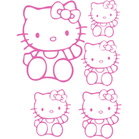 Stickers Hello Kitty planche de 5 stickers