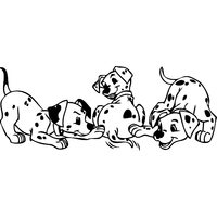 Stickers 3 chiots dalmatien