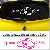 Stickers mariage 2 alliances avec vos prénoms