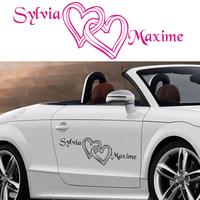 Stickers déco mariage Coeurs enlacés personnalisés