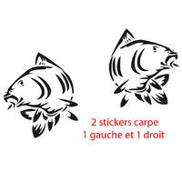 Stickers pêche à la ligne LOT de 2 carpes