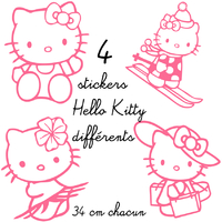 4 stickers autocollant Hello Kitty différents
