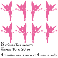 Stickers autocollant lot 8 Fées Clochette