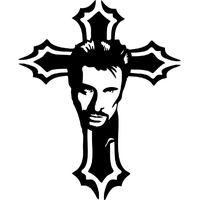 Stickers croix de Johnny Hallyday