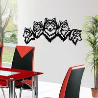 Stickers 5 têtes de loup en 63 cm ou 131 cm