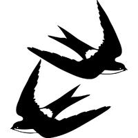 2 stickers oiseaux hirondelles