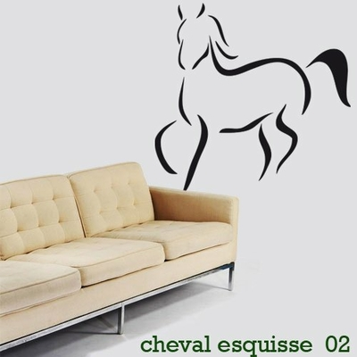stickers cheval esquisse 02