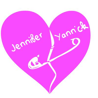 Stickers Mariage coeur épingle personnalisé rose
