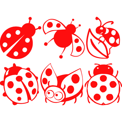 6 stickers coccinelles