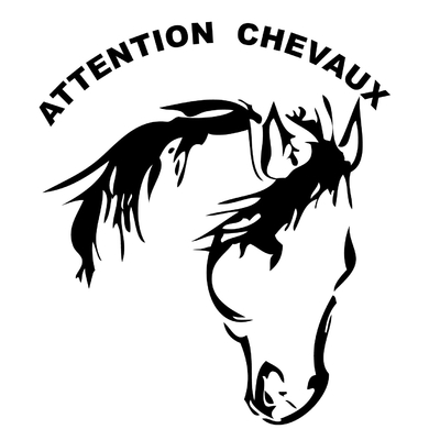 stickers équitation  ATTENTION CHEVAUX