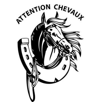 sticker concours hippique ATTENTION CHEVAUX