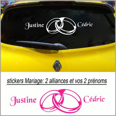 stickers Mariage alliances et prénoms