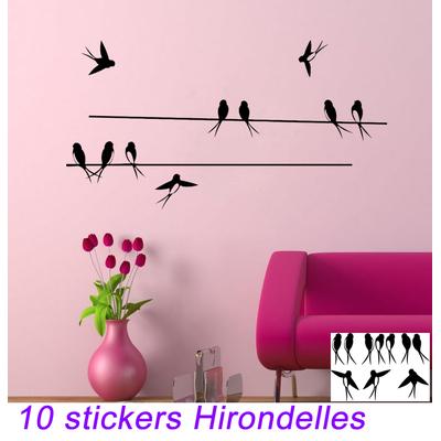 10 stickers autocollant Hirondelles et 2 fils