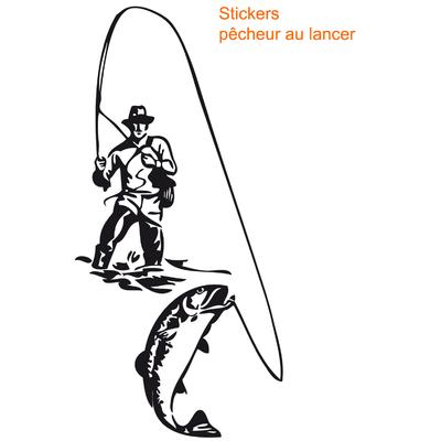 Stickers autocollant pêcheur au lancer