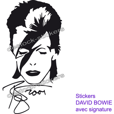 stickers autocollant david bowie signature .