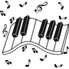 Sticker clavier de piano et notes de musique