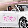 Stickers MARIAGE personnalisé Vos prénoms dans 2 coeurs