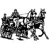 Sticker attelage chevaux