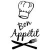Stickers déco cuisine Bon appétit toque chef