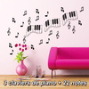 Stickers musique 3 claviers piano et 22 notes