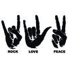 Stickers mains Rock Love Peace