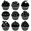 cupcake 9 stickers autocollant