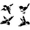 4 stickers oiseaux mesanges