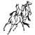 stickers 4 chevaux en liberté