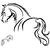 stickers cheval esquisse 3