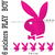 Stickers autocollant 6 Play Boy fushia