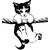 sticker autocollant chaton sur la corde 28 x 30 cm