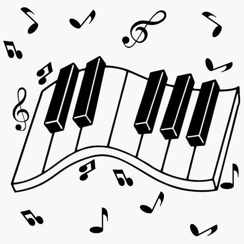 Favorit Sticker clavier de piano et notes de musique - Musique/instruments  YF44
