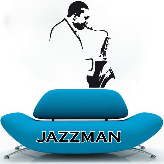 sticker jazzman stylis musique instruments destock stickers. Black Bedroom Furniture Sets. Home Design Ideas