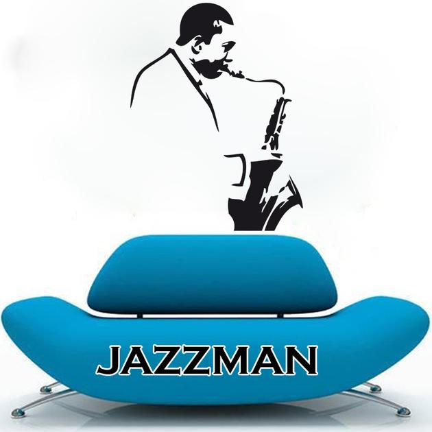 sticker jazzman stylis musique instruments destock stickers. Black Bedroom Furniture Sets. Home Design Ideas