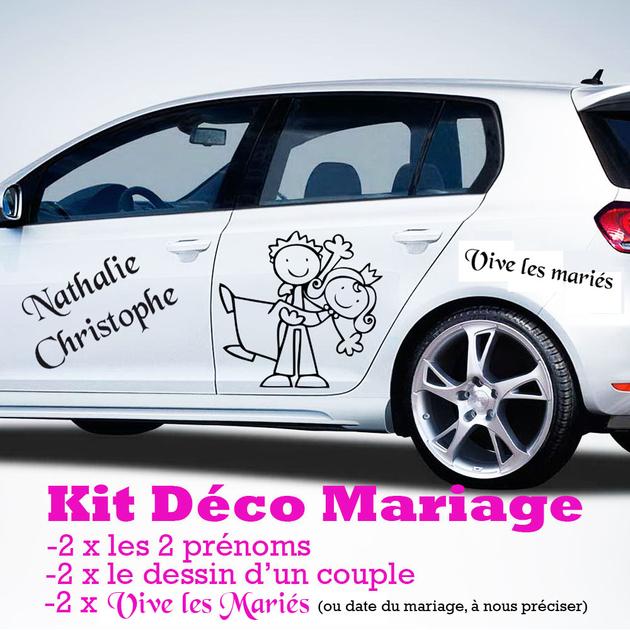 sticker mariage kit complet pour la d co de la voiture mariages c r monies destock stickers. Black Bedroom Furniture Sets. Home Design Ideas