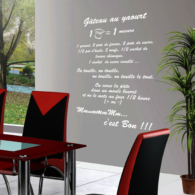 stickers g teau au yaourt la recette deco cuisine destock stickers. Black Bedroom Furniture Sets. Home Design Ideas