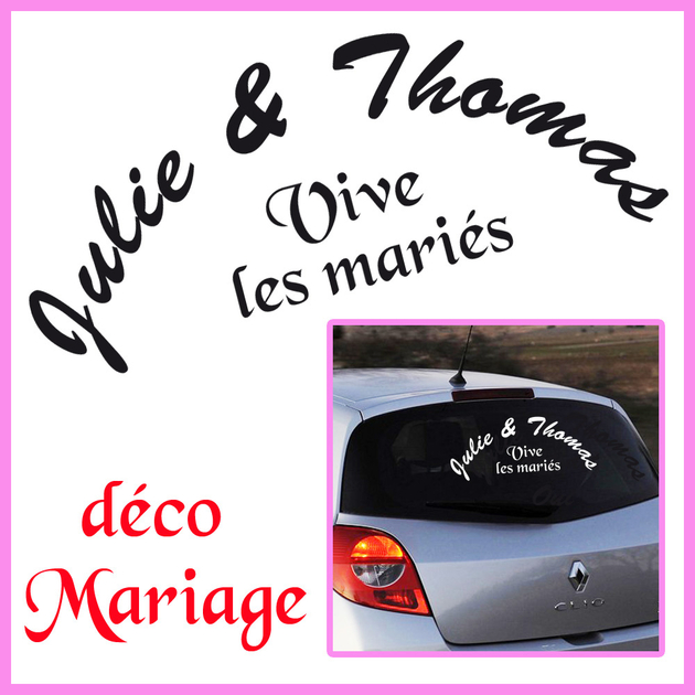 stickers mariage personnalis vive les mari s mariages c r monies destock stickers. Black Bedroom Furniture Sets. Home Design Ideas