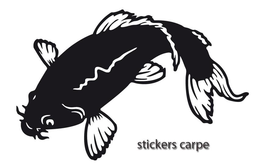stickers autocollant p che carpe 02 stickers silhouette destock stickers. Black Bedroom Furniture Sets. Home Design Ideas