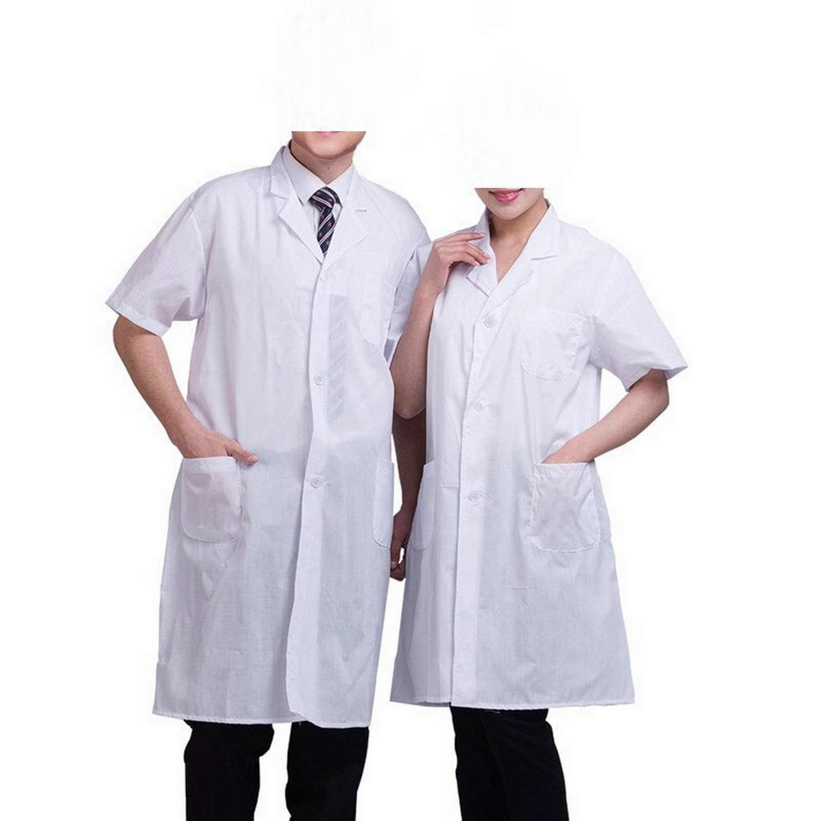Blouse blanche médicale manche courte polyester