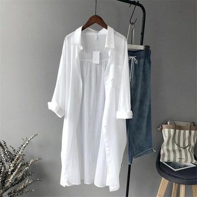 Chemise femme blanche longue Coton