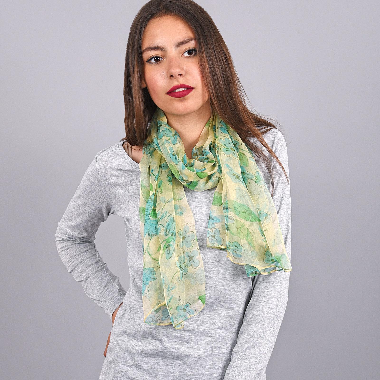 AT-03738-VF16-foulard-mousseline-soie-fleurs-trefles-vert