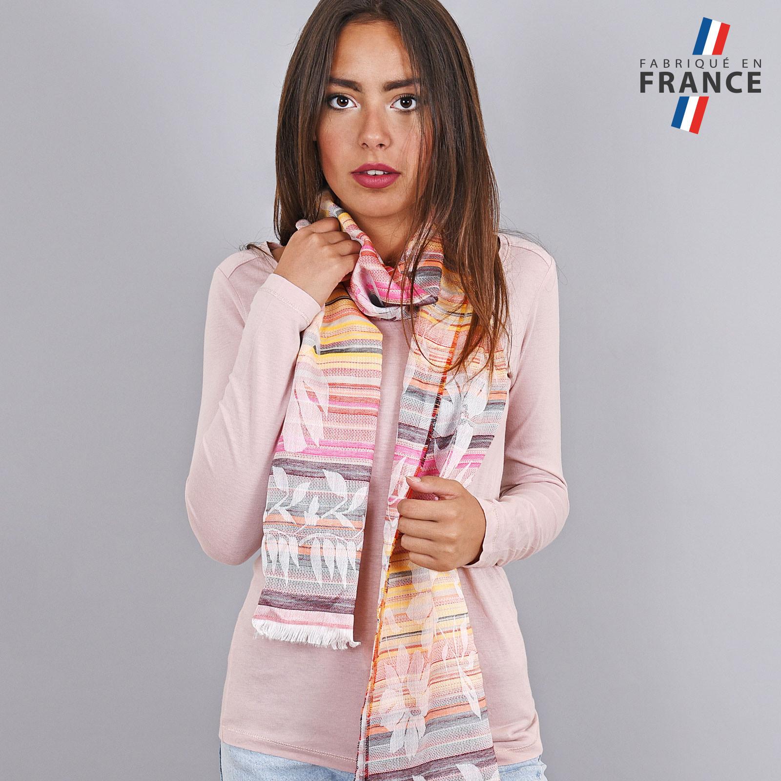 AT-03582-rose-VF16-LB_FR-echarpe-legers-rayures-rose-jaune-orange-qualicoq