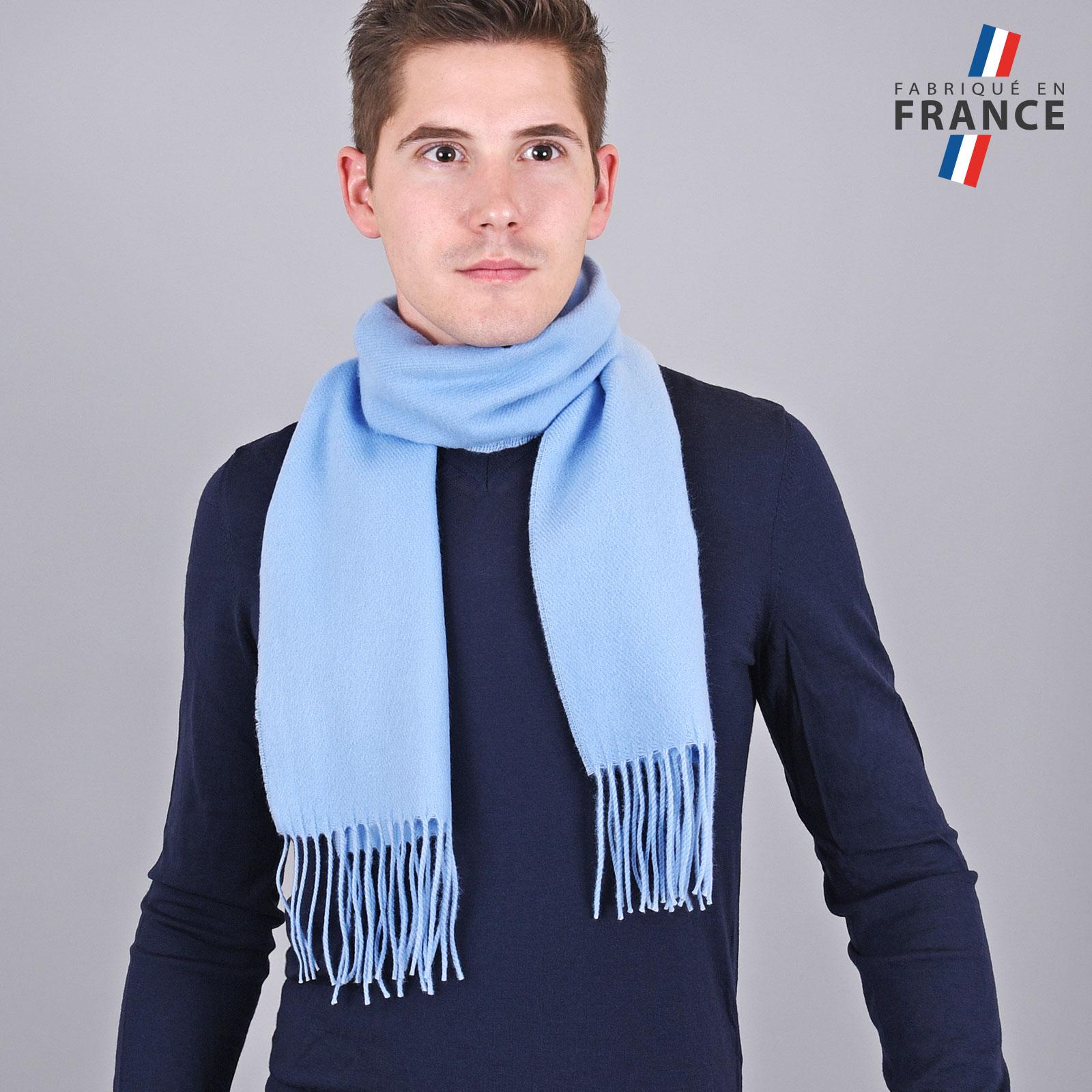Echarpe franges bleu ciel - Fabriqué en France 148f8f17b88