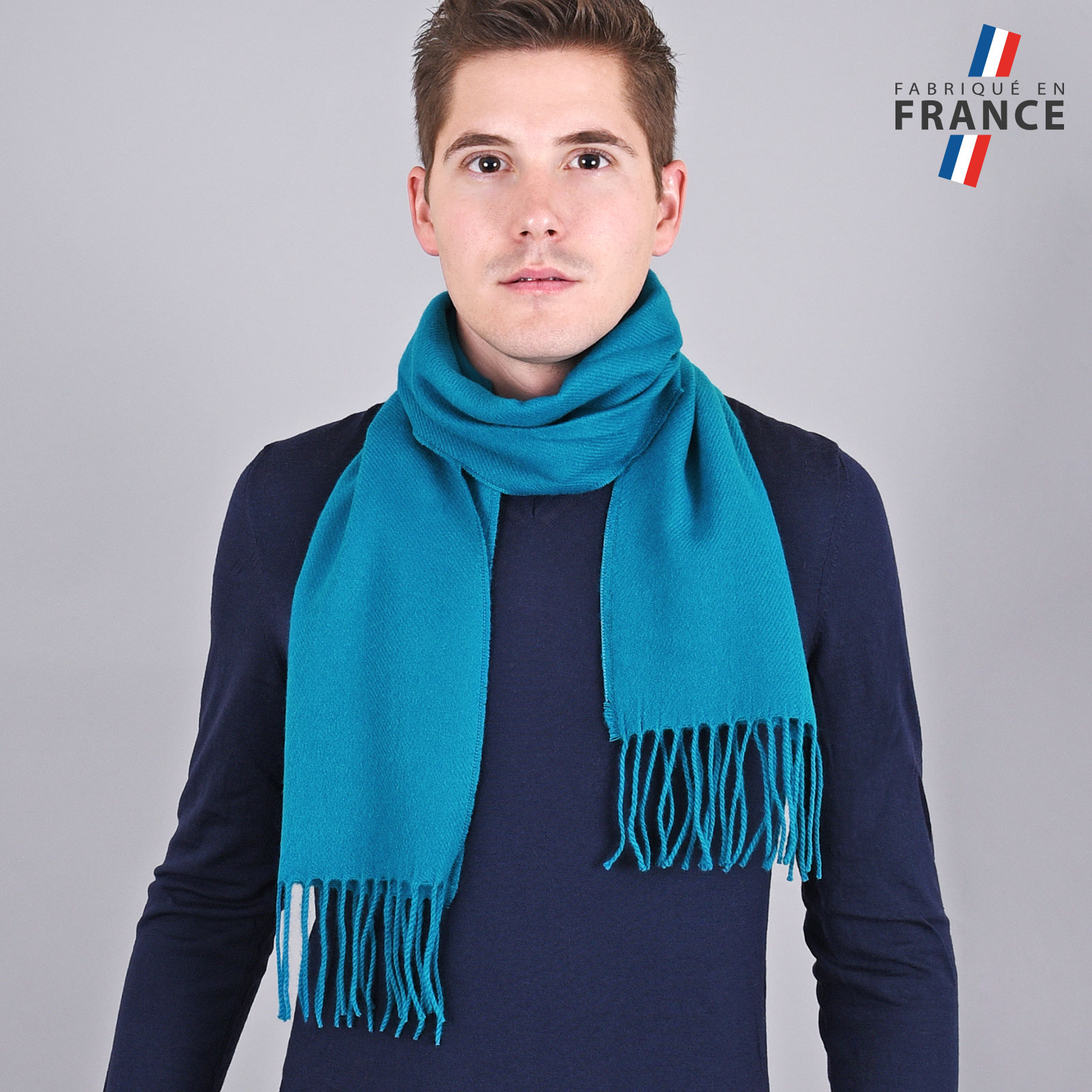 Echarpe franges bleu canard - Fabriqué en France 4caca60392e
